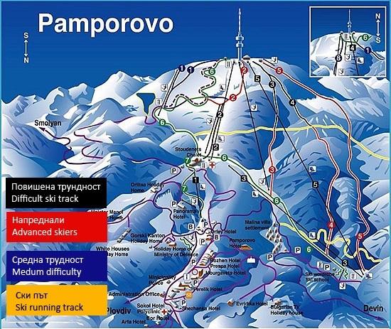 карта със ски пистите в Пампорово и тяхната трудност